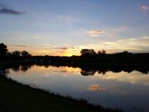 Por do sol sobre o parque do lago Glenwood imagens de stock royalty free