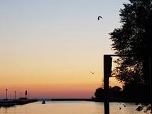 por do sol sobre o porto de Bayfield Imagem de Stock