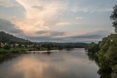 Por do sol sobre o rio de San Imagem de Stock Royalty Free