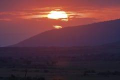 Por do sol sobre o savana no Masai Mara kenya foto de stock royalty free