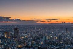 Por do sol sobre o Tóquio Fotografia de Stock
