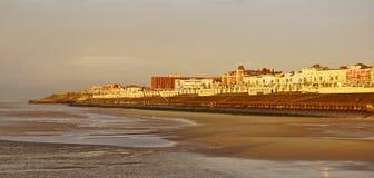 Por do sol sobre a opinião de Blackpool Foto de Stock
