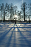 Por do sol sobre a paisagem do inverno Fotografia de Stock