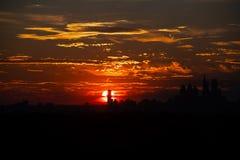 Por do sol sobre Philadelphfia Imagens de Stock