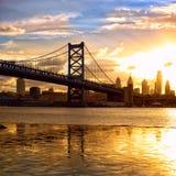 Por do sol sobre Philadelphfia Fotos de Stock
