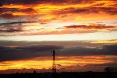 Por do sol sobre a planície Imagem de Stock