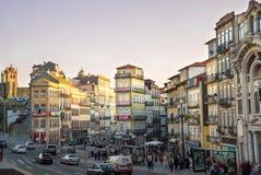 Por do sol sobre Porto do centro Portugal Fotografia de Stock Royalty Free