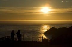 Por do sol sobre promontório de Marín fotos de stock