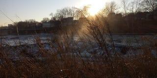 Por do sol sobre quedas em Paterson fotos de stock royalty free