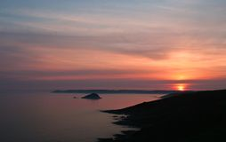 Por do sol sobre Rame Cornualha principal Imagens de Stock