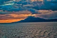 Por do sol sobre a rocha de Gibraltar Fotos de Stock
