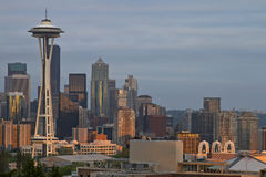 Por do sol sobre a skyline de Seattle Imagem de Stock