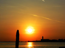 Por do sol sobre Veneza Imagem de Stock