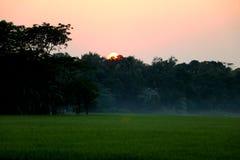 Por do sol sobre a vila que inclui a névoa e o campo verde imagens de stock