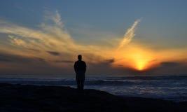 Por do sol solitário 1 Fotografia de Stock Royalty Free