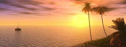 Por do sol sonhador ilustração royalty free