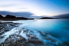 Por do sol sonhador em Noruega do norte fotografia de stock royalty free