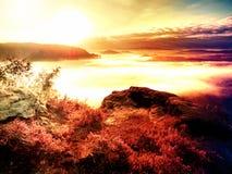 Por do sol sonhador fantástico sobre a montanha rochosa com vista em nivelar o vale outonal fotos de stock