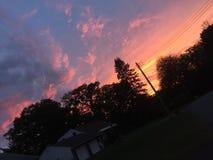 Por do sol suburbano Foto de Stock Royalty Free