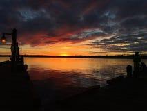 Por do sol surpreendente Fotografia de Stock