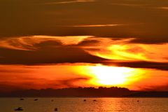 Por do sol surpreendente Foto de Stock