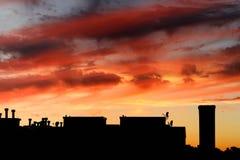 Por do sol do telhado de Chicago imagens de stock royalty free