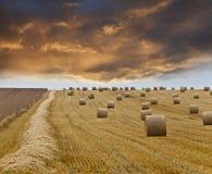 Por do sol tormentoso após a colheita Fotos de Stock