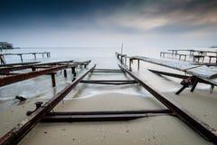 Por do sol tormentoso da pesca nas cores Fotos de Stock Royalty Free