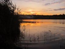 Por do sol tranquilo no lago com um bastão e ondinhas na água Imagem de Stock Royalty Free