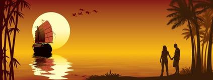 Por do sol tropical Imagem de Stock