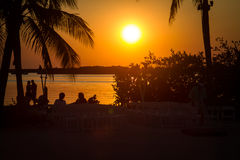 Por do sol tropical Foto de Stock Royalty Free