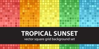 Por do sol tropical ajustado do teste padrão quadrado Backgro sem emenda da telha do vetor Fotografia de Stock Royalty Free