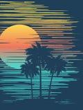 Por do sol tropical bonito ilustração royalty free
