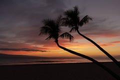 Por do sol tropical bonito de Maui fotografia de stock