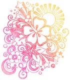 Por do sol tropical D esboçado do hibiscus das férias de verão ilustração royalty free