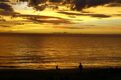 Por do sol tropical dourado   Imagem de Stock