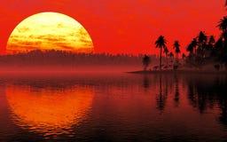 Por do sol tropico do ambiente Imagens de Stock Royalty Free