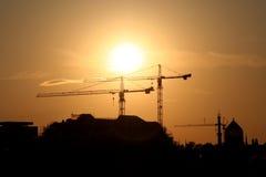 Por do sol urbano Imagens de Stock