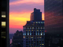 Por do sol urbano Foto de Stock