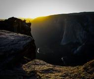 Por do sol do vale de Yosemite fotografia de stock
