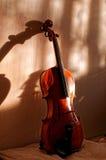 Por do sol velho do violino Imagens de Stock