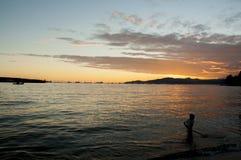 Por do sol do verão da baía inglesa, Vancôver Imagem de Stock Royalty Free