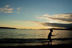Por do sol do verão da baía inglesa, Vancôver Imagem de Stock