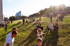 Por do sol do verão na cidade Fotografia de Stock