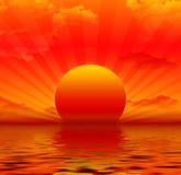 Por do sol vermelho ilustração royalty free