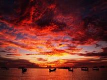 Por do sol vermelho Imagem de Stock Royalty Free