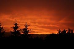 Por do sol vermelho Imagens de Stock Royalty Free