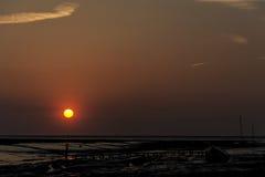 Por do sol vermelho de Wirral Fotos de Stock