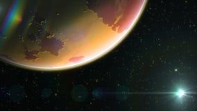 Por do sol vermelho do planeta capaz de dar laços ilustração do vetor