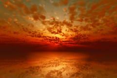 Por do sol vermelho dramático ilustração do vetor